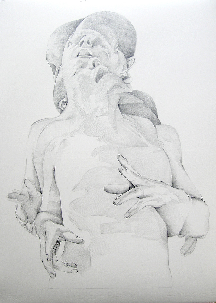 Scott Hutchison - Displaced - Beginning to shade the Graphite Drawing of layered figures