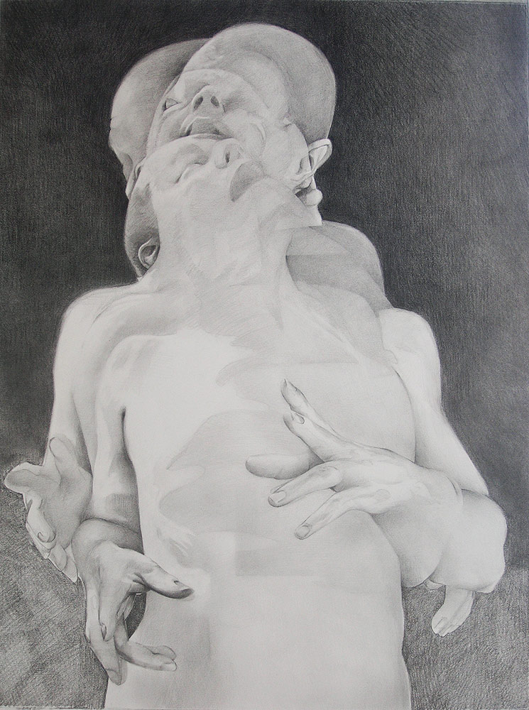 Scott Hutchison - Displaced - Graphite Drawing of layered figures - Layer 3