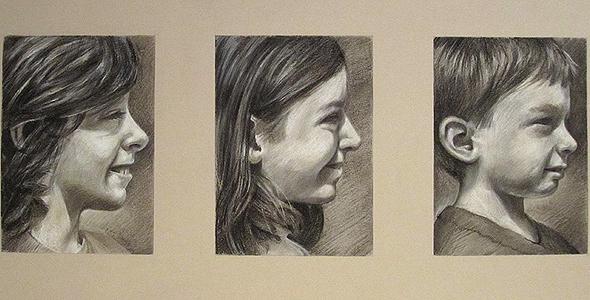 Cousins - Charcoal and conte portrait commissions by Scott Hutchison - Thumbnail