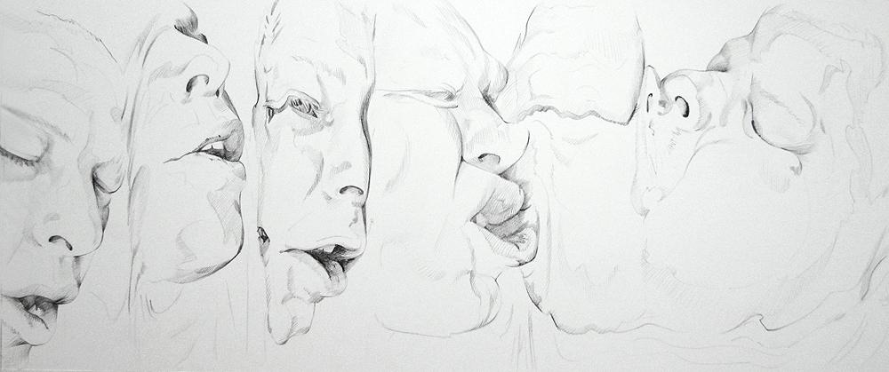 Scott Hutchison - Melt - Contour Drawing of Multiple Faces
