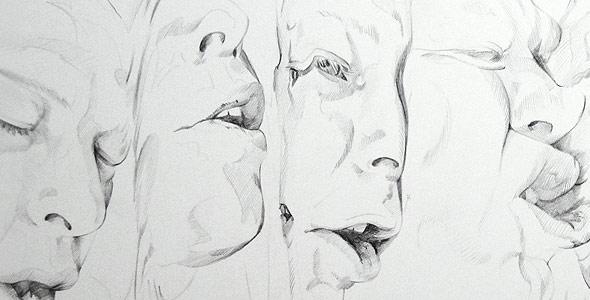 Scott Hutchison - Melt - Contour Drawing of Multiple Faces - Thumbnail