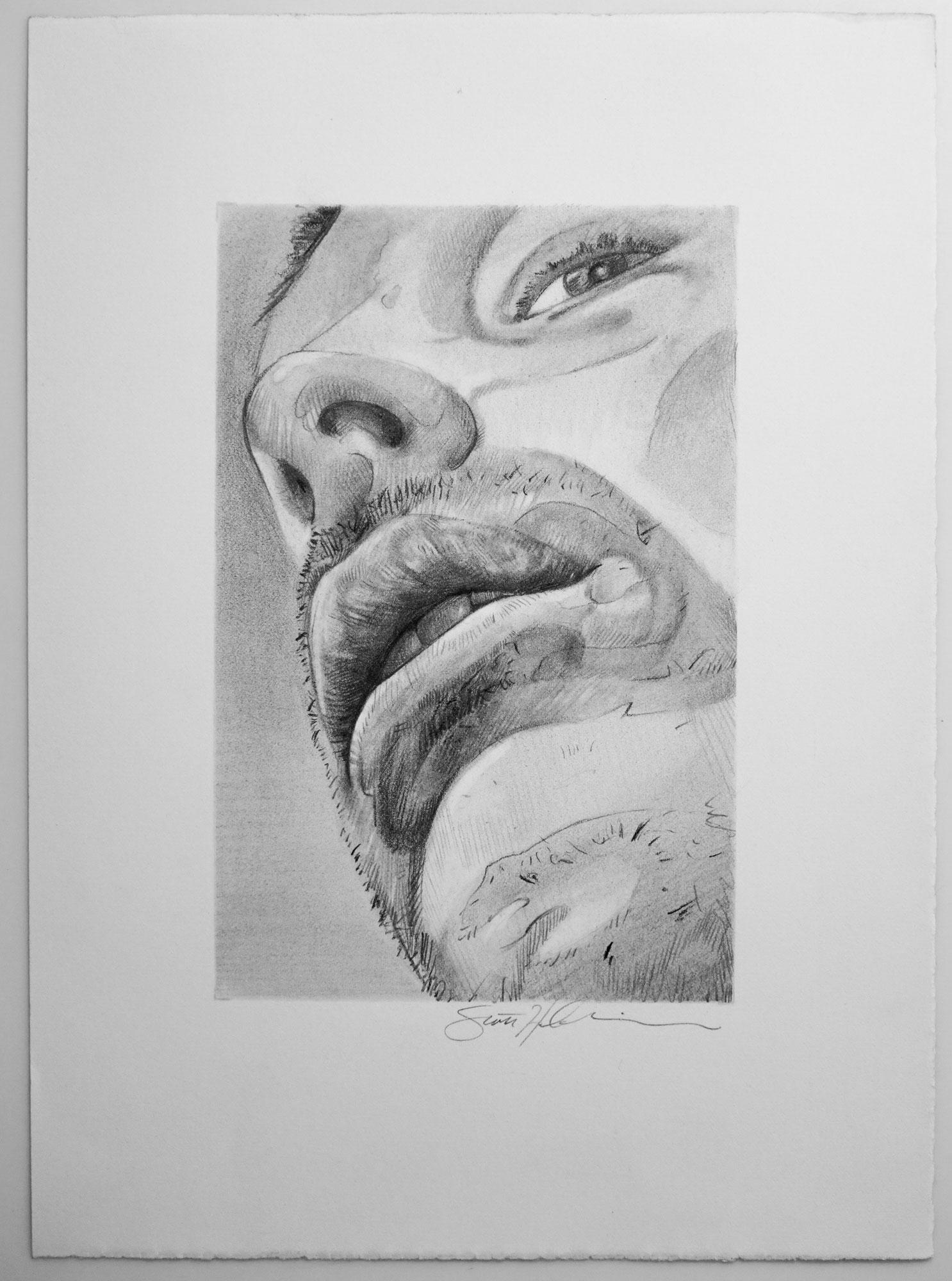 A Self Portrait Study by Scott Hutchison titled Waiting To Speak