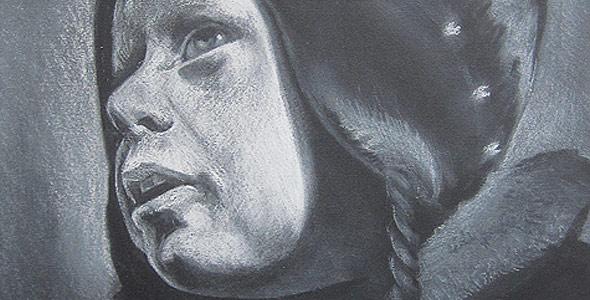 Ronan - White Conte Portrait by Scott Hutchison - Thumbnail