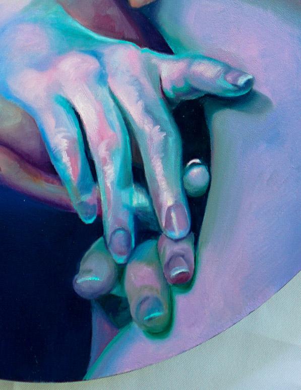 "Scott Hutchison Medusa, 18"" x 24"" oil on Aluminum - Detail 2"