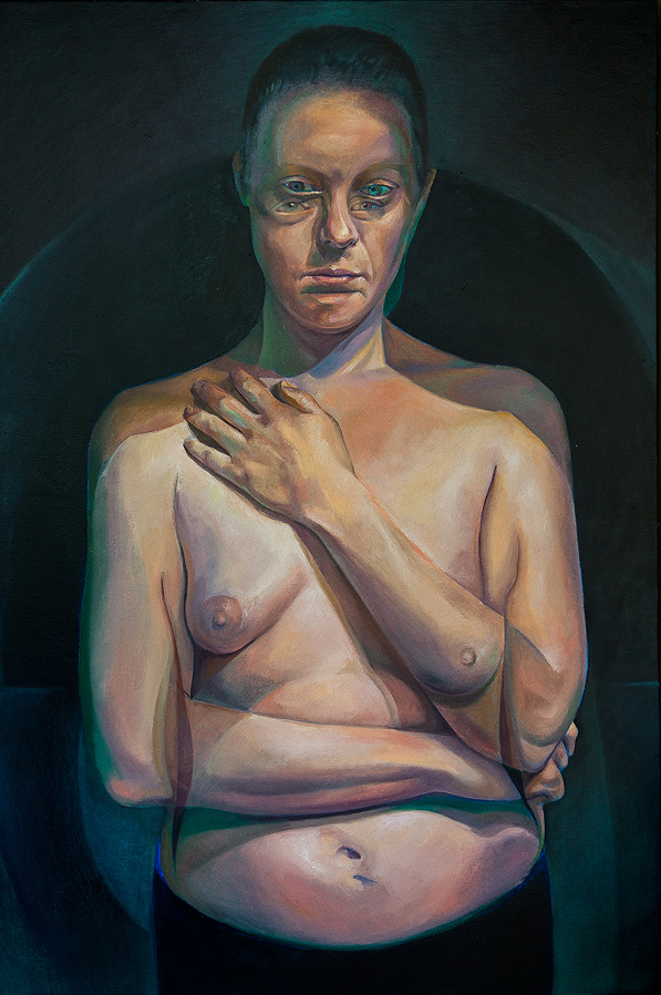 A Moment Between by Scott Hutchison - Oil painting - A woman with moving pose - Finished