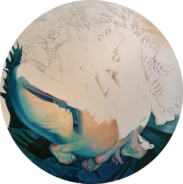 "Scott Hutchison - Dreamtank - Oil on Aluminum 44"" x 44"" - In Progress"