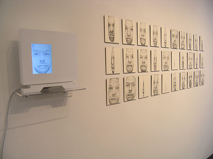 Scott Hutchison - Unseen - Funny Squished Portrait Animation in Graphite - Installation View