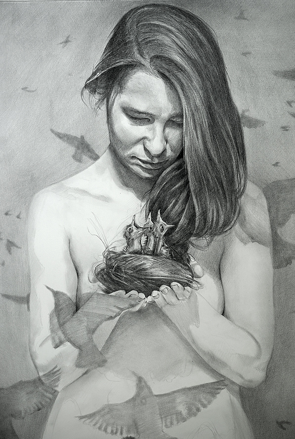 Birds by Scott Hutchison - graphite drawing - Woman holding birds nest made of her hair