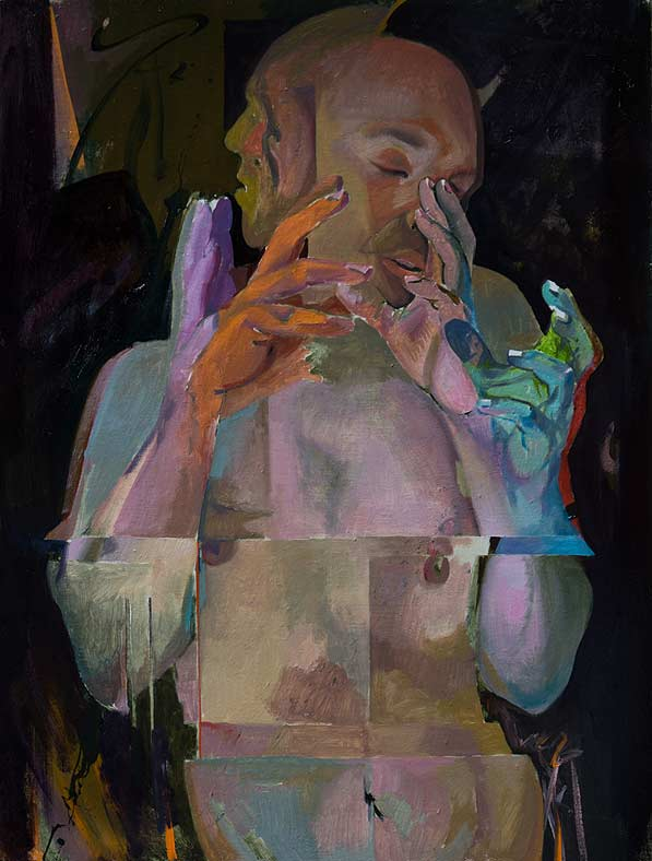 Counterpoint oil on linen by Scott Hutchison - Many hands Layer 3