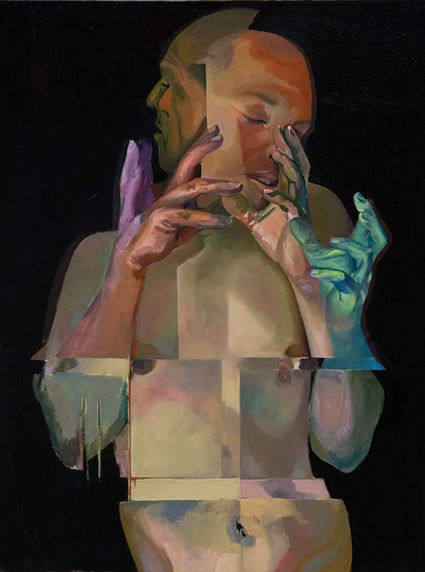 Counterpoint oil on linen by Scott Hutchison - Many hands Layer 4