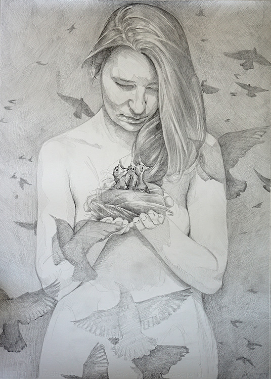 Birds by Scott Hutchison - graphite drawing - birds nest made of hair second Layer