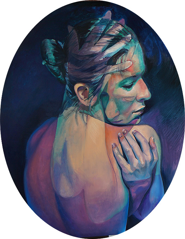 Imaginary Grasp by Scott Hutchison - oil on aluminum - Oval painting of two colorful poses. A woman looking over her shoulder