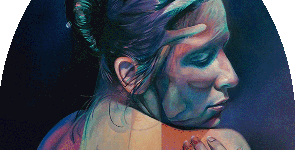 Oil painting by Scott Hutchison titled Imaginary Grasp of two figures combined in an embrace