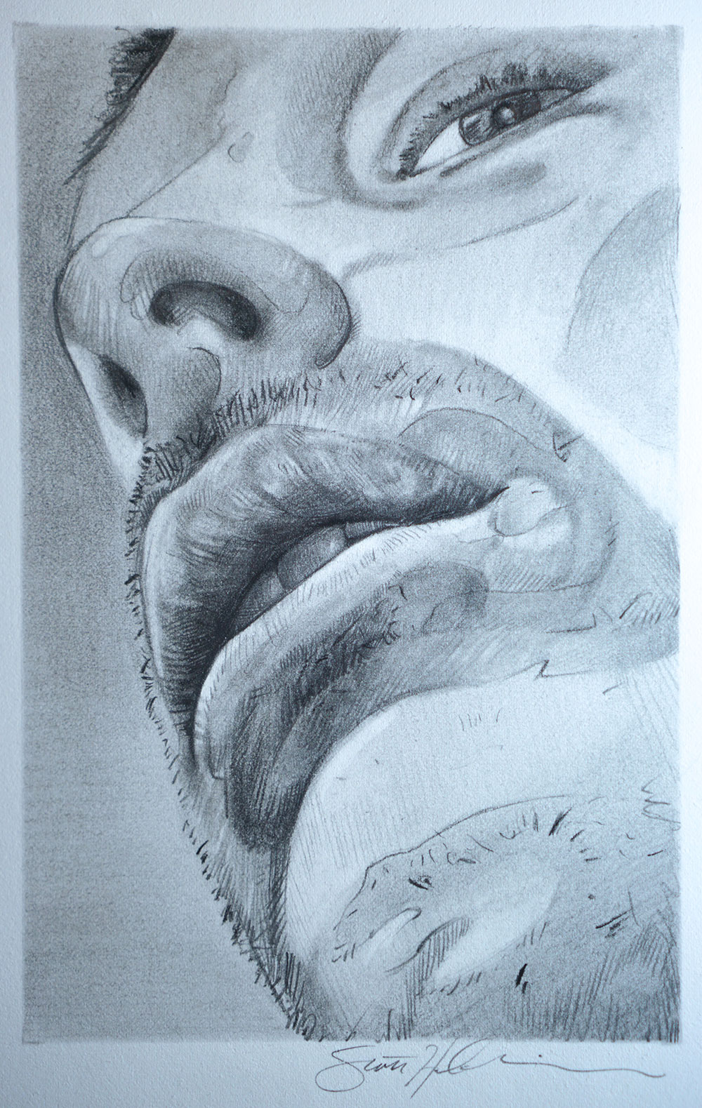 Graphite Drawing titled Waiting To Speak by Scott Hutchison
