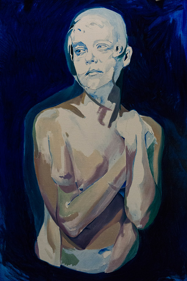A Moment After by Scott Hutchison - Oil painting - A woman with two conflicting emotions - Layer 1
