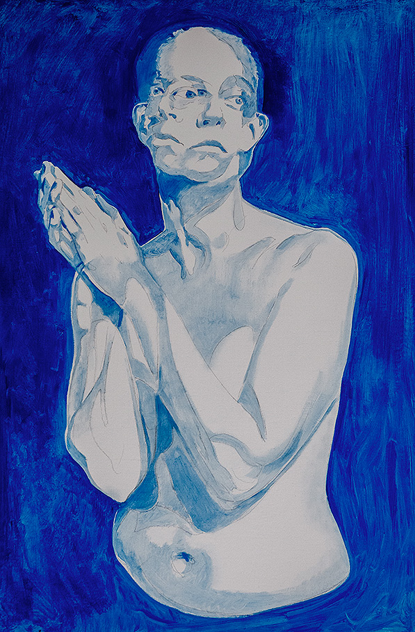 A Moment Before by Scott Hutchison - Oil painting - A woman praying Blue Underpainting