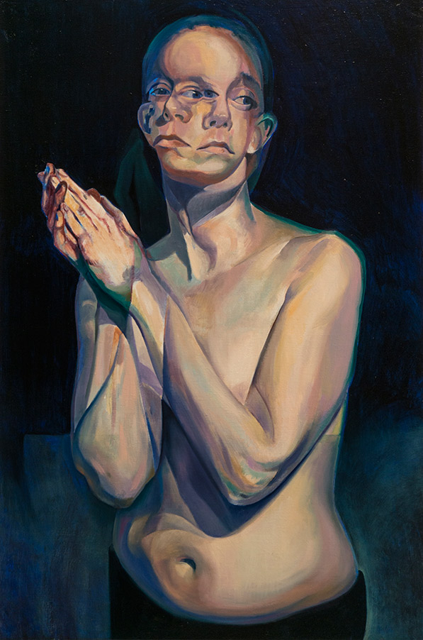 A Moment Before by Scott Hutchison - Oil painting - A woman praying - Third Layer