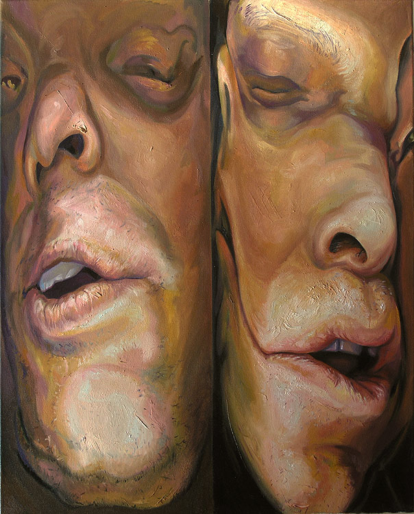 Squeezed - Double portrait - oil on canvas by Scott Hutchison - FInished