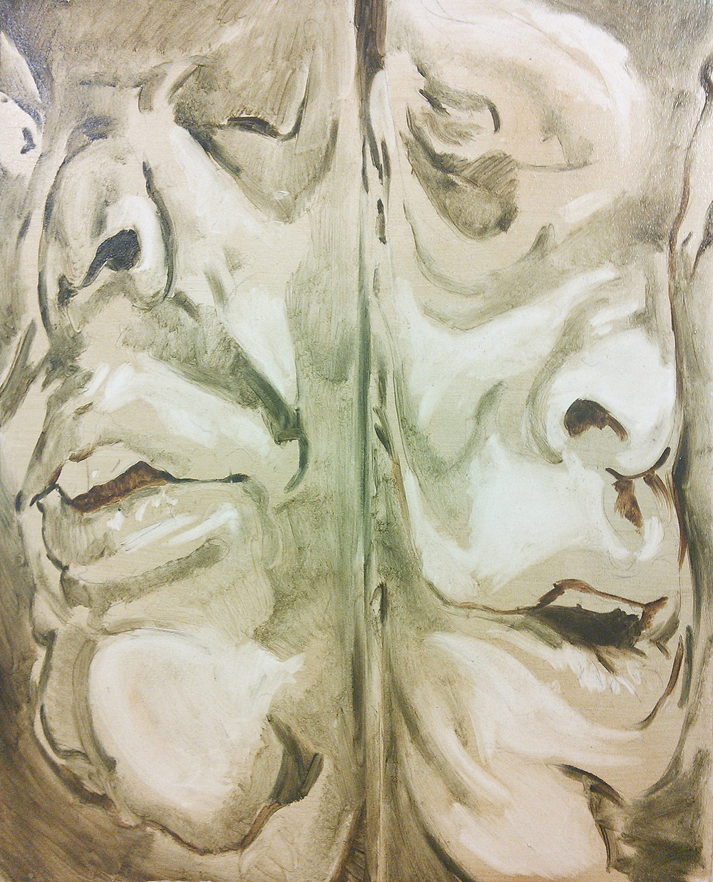 Squeezed - Double portrait - oil on canvas by Scott Hutchison - First Layer