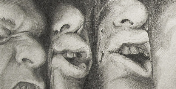 Scott Hutchison - Struggle - graphite drawing of multiple squished faces - Thumbnail