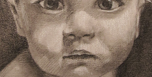 Zhenya - Conte and Carbon drawing of baby by scott hutchison - Thumbnail
