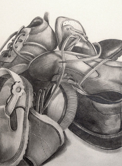 Empty - Graphite drawing of baby shoes by scott hutchison