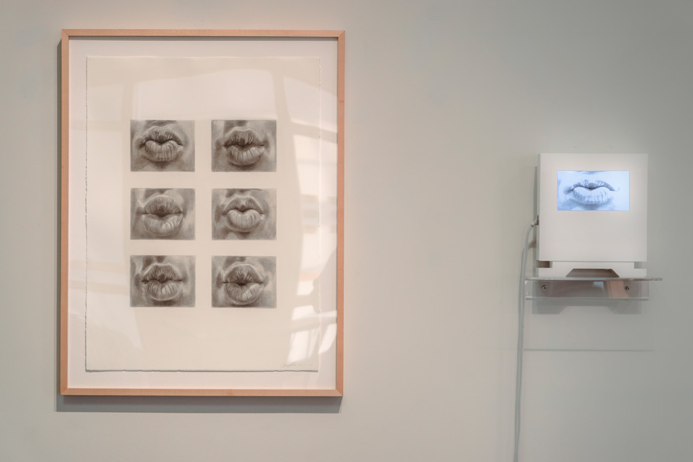Kiss by Scott Hutchison - Video art piece of lips puckering and kissing - Drawing