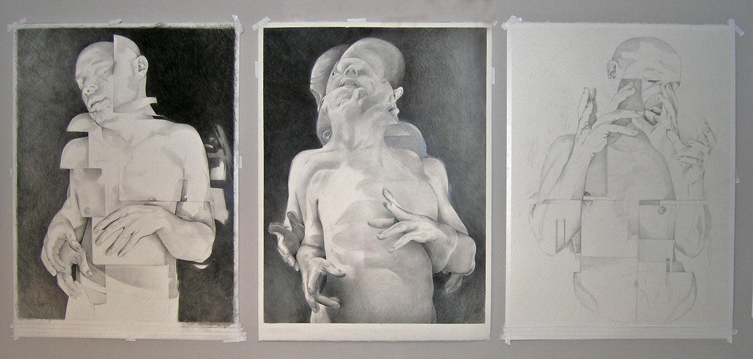 Scott Hutchison - Triptych- Graphite Figure Drawing Triptych