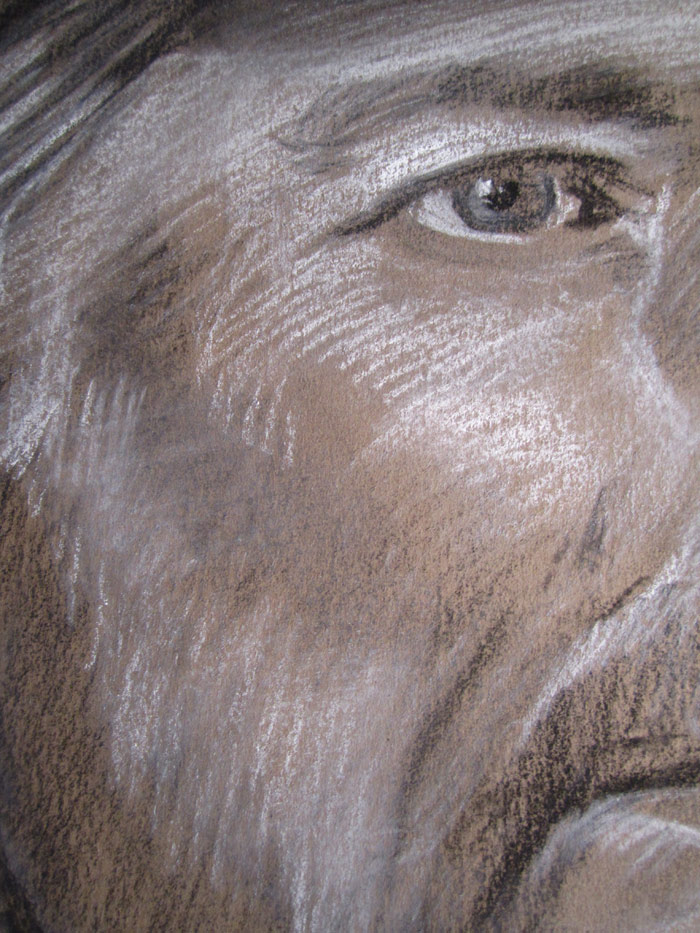 Detail of Scott Hutchison's portrait drawing demonstration in Conte and Carbon