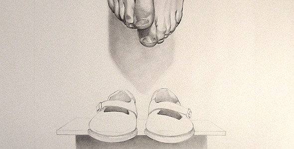 Relic by Scott Hutchison - Graphite drawing of hanging feet and shoes - Thumbnail