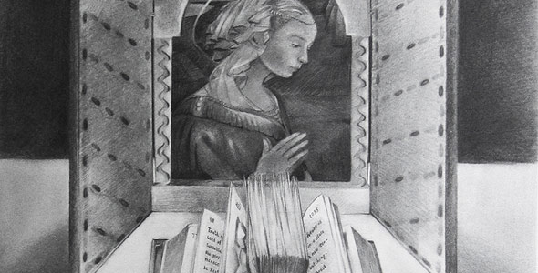 Sacred by Scott Hutchison - Charcoal still life drawing with book and altar - Thumbnail