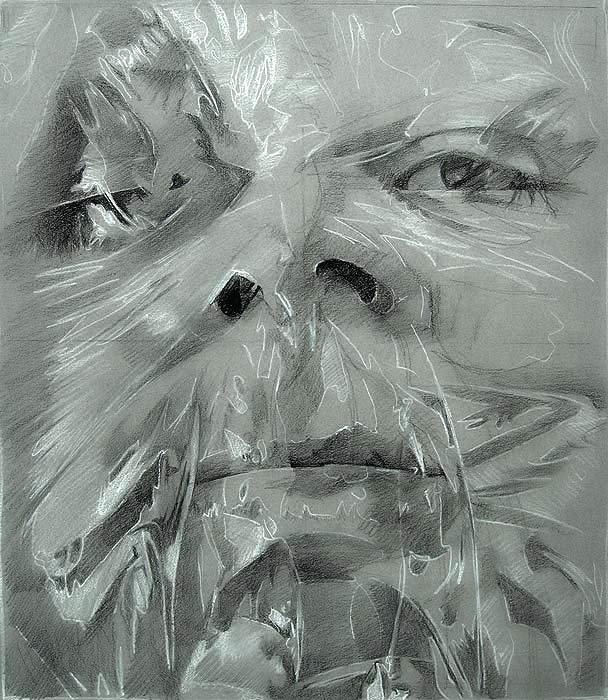 Scott Hutchison - Plastic - Drawing of Face Wrapped in Plastic First Layer