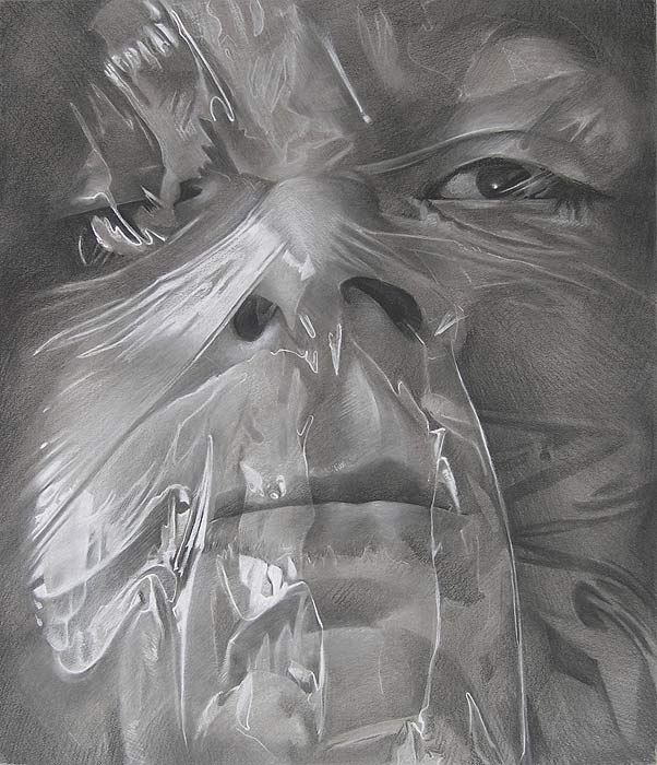 Scott Hutchison - Plastic - Drawing of Face Wrapped in Plastic Second Layer