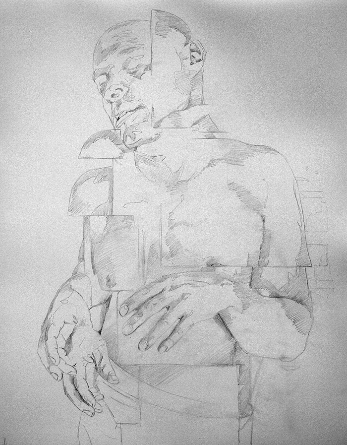 Scott Hutchison - Shift- Graphite Figure Drawing - Contour