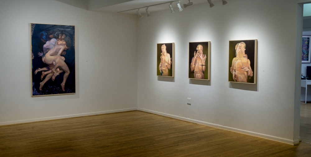 """Displaced"" Triptych and ""Reversed Her Hemispheres"" at The Hillyer Arts Space  by Scott Hutchison"