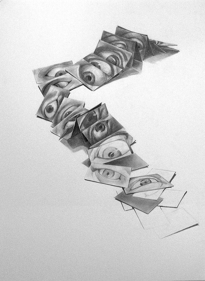Scott Hutchison's graphite drawing - Your Eyes Will Be opened